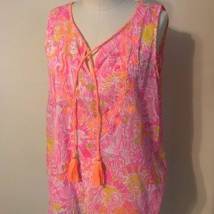 Lilly Pulitzer pink lion sleeveless tassel top